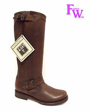New FRYE Size 6 VERONICA TALL SLOUCH Dark Brown Leather Moto Boots