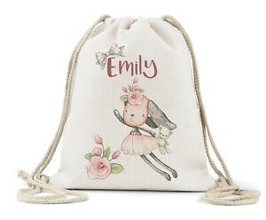 Personalised Girls Drawstring Bag, Cute Dog/Book bag/Nursery/Birthday Gift