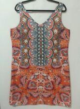 SUZANNE GRAE NEW FASHION SHIFT DRESS size 16 BRIGHT KAFTAN PRINT SATIN