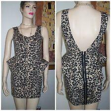Papaya 1940's Styled Peplum Sides Cheetah Print Sexy BodyCon Stretch Dress sz S