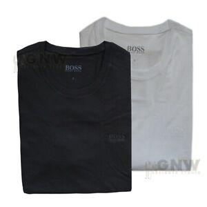 HUGO BOSS MEN'S PLAIN CREW NECK SHORT SLEEVE T SHIRT BLACK/ WHITE 2 PACK