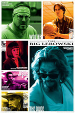 Rare - The Big Lebowski SIX MAIN CHARACTERS Colors and Quotes POSTER (Last Ones)