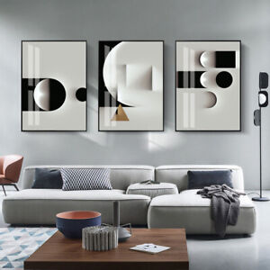 Nordic Abstract Geometric Canvas Wall Print Black White Poster Industrial Decor