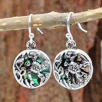 Fashion Women Cute Silver Beach Sea Turtle Dangle Earrings Abalone Shell Jewelry
