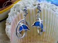 BEAUTIFUL REAL STERLING SILVER BLUE OPAL DANGLE POST DOLPHIN EARRINGS WITH CZ