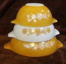 VTG PYREX Butterfly Gold CINDERELLA mixing bowl 3 piece SET 442 443 444 Yellow