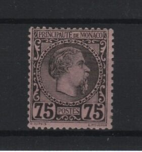 "MONACO STAMP TIMBRE 8 "" PRINCE CHARLES III 75c NOIR SUR ROSE "" NEUF xx TTB T772"