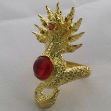 Red Naga Eye Stone Gem Thai Ring Naga Amulet Brass Holy Lp Antique Size 9 Magic.