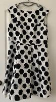 Ladies Roman Dress-  UK 18 - Polka Dot - Fit N Flare Style- White/Black - Good