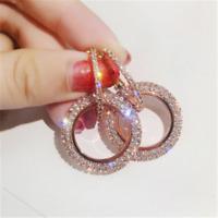 Dazzing Luxury Round Earrings Women Crystal Geometric Hoop Earrings Jewelry Gift