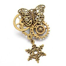 Vintage Steampunk Butterfly Gear Breast Pin Gothic Snowflake Brooch Breastpin