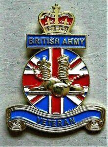 BRITISH ARMY 3d VETERAN ENAMEL MILITARY PIN BADGE UK VETERAN POPPIES 2021
