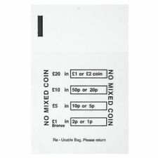 50 x PLASTIC COIN BAGS - MONEY BANK BAGS NO MIXED COINS CHANGE CASH RETAIL BAG
