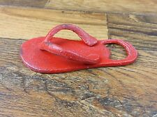 CAST IRON RED FLIP FLOP SANDAL BOTTLE OPENER SODA BEER
