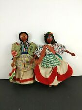 Vintage Handmade Doll Wood Paint Feedsack Dress South American Polynesian Ethnic