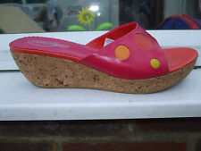 Gorgeous Pink Spotty Wedge Heel Slip On Sandals- SHELLY'S- Size 6