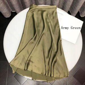 Women Midi Skirt Silky Satin Hight Waist A-Line Solid Soft Casual Elegant Summer