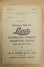 lister alternating current generating plants single & 3 phase instruction book