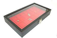 32 Jewelery Display Case Jewelry Travel Showcase Display Glass Lid Red Insert