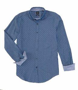 HUGO BOSS MEN'S L XL SLIM FIT RIKARD 53 BLUE COTTON LONG SLEEVE DRESS SHIRTS