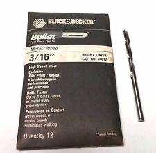 "6 PCS. 3/16"" BLACK & DECKER BULLET DRILL BITS - PILOT POINT- HS - BRIGHT FINISH"