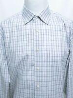Ermenegildo Zegna Blue Purple Gray Plaid Long Sleeve Shirt Mens Size 18.5x36