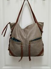 LUCKY BRAND Gray Leather Slouchy Shoulder Tote Bag Purse Handbag