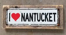 I Love Nantucket Cape Cod Island Beach Framed Vintage Street Sign Home Decor