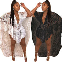 Women V neck lace sheer cloak club party evening asymmetrical hem mini dress