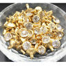 100Sets 8mm Clear Crystal Rhinestone Rivets Stud Spot Golden for Leather Craft