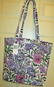 "Vera BRADLEY Large Iconic Tote Lavender Meadow1 5'x12.5""x4.5""  NEW"