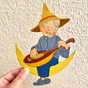 Vintage Kinderzimmer-Deko: 1940er Pappe-Figur Mann im Mond 19cm Deko Zwerg ALT