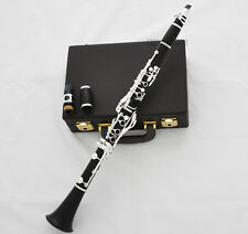 Professional Grenadilla Ebony Wooden Clarinet Silver Plated 18 Keys Italian pads
