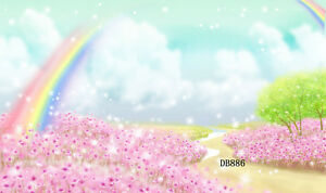 Polyester Photography Background Backdrop 7X5FT Studio Prop Dream Rainbow Flower