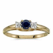 10k Yellow Gold Round Sapphire and Diamond Ring
