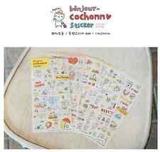 #52 cute piggy cartoon pvc stickers notebook diary decoration 6 sheets