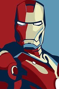 Iron Man The Avengers Superhero Vintage Art Deco Comic Large Poster Bedroom Boy