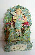 Vintage Large Lace Popup German Valentine - Angel Amongst Forget Me Knots