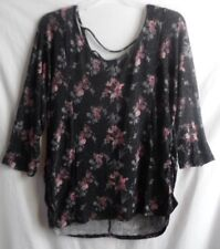 FADED GLORY BLACK PINK FLORAL METALLIC POLY/ SPANDEX TOP 3/4 SLEEVE 4X 26W 28W