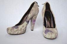 MULBERRY Suede Blue Grey Purple Platform High Heel Pump Lace-Up Square-Toe 37-7