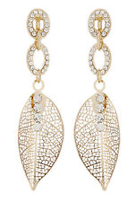 CLIP ON EARRINGS - gold plated dangle leaf earring with clear crystals - Ava