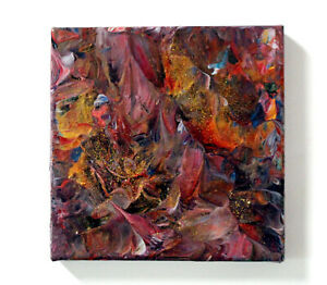 """Original Painting """"Sparkling Flame"""" 8"""" x 8"""" box canvas by Judith Rowe"""