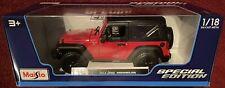 2014 Jeep Wrangler Maisto Diecast Car Red 1:18 Scale Special NIB