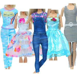 5 Handmade Cute Lady Outfits Jumpsuit Gowns Dress Clothes for 11.5 in. Doll Toy
