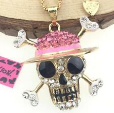 Betsey Johnson Jewelry Pendants Rhinestone Chain Hat skull Women Charm Necklace