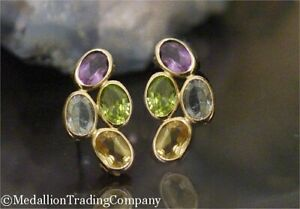 14k Yellow Gold Oval Bezel Multi Color Gemstone Topaz Amethyst Citrine  Earrings