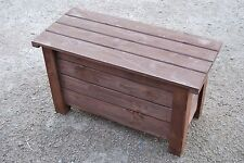 Large Wooden Trunk 80 cm Long of Solid Pine Wood In Brown Color