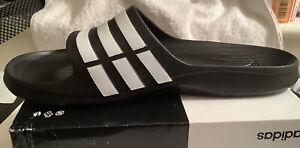 Mens Adidas Black & White Duramo Swim Sliders slides - Size 18~54