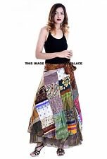Fashion Patchwork Long Skirt Wrap Around Rapron Satin Silk Ethnic Indian Dress