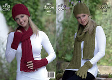 KING COLE PATTERN 3274.  HAT, SCARVES & GLOVES.  DOUBLE KNITTING.